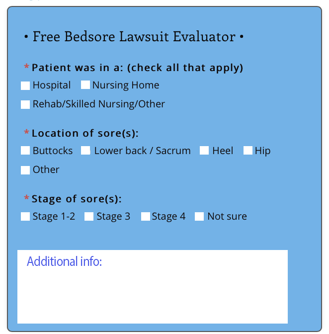 Free Bedsore Lawsuit Evaluation